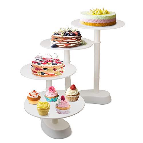 Tortenständer Hochzeitstorte Weiß Tortenstaender 4 Etagen Kuchenständer Torten Cupcake Deko für Geburtstag, Hochzeit und Party