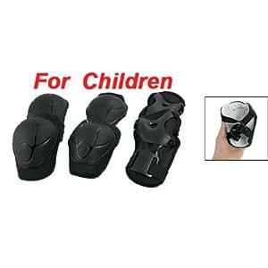 TOOGOO(R) 3 set protezione per ginicchia gomiti e polsi ginocchiere gomitiere polsiere nere pattinaggio per bambino