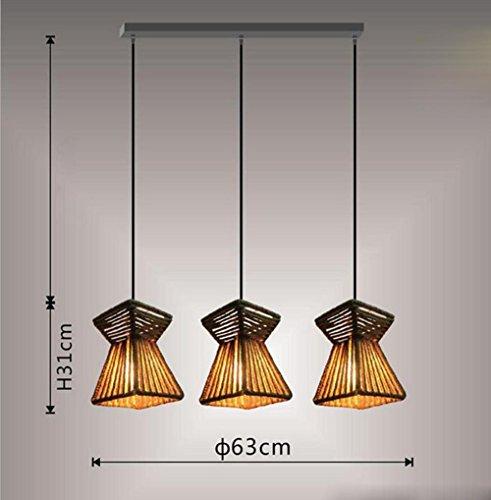 Suspensions 111V ~ 240V (inclus) E27 rétro industriel Loft petite fleur en forme de panier pur tissé à la main chanvre corde pendentif lumières, taille D220 * H280 (mm), 3 head B