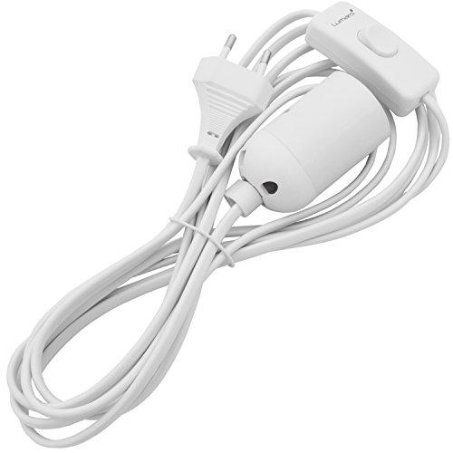 Lumare E27 Douille de lampe avec interrupteur et cordon d'alimentation l Pied de lampe avec prise de câble, prise adaptateur blanche