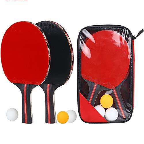 Butterfly Esstisch Set (ZRK Tischtennisschläger mit Koffer Professioneller Tischtennisschläger Easy Room 5-lagiges Holz 2-lagiger Carbon-Tischtennisschläger Paddel Gummi Komfortabler Griff 2 Schläger und 3 Bälle)