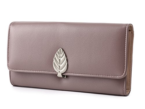 Travistar Portemonnaie Damen PU Leder Geldbörse- Elegant Lang Damen Geldbeutel Clutch Handtasche mit Reißverschluss und Druckknopf