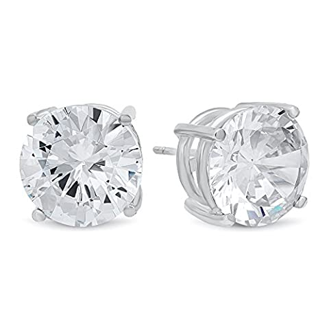 Round Cut Clear Synthetic Gemstone 12mm CZ Sterling Silver Stud Earrings + Cleaning Cloth