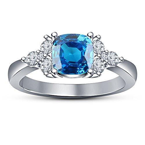 Vorra Fashion solitario taglio cuscino topazio blu 925sterling Silver anello di fidanzamento, Argento, 23,5, colore: White, cod. RF254721_1 - 5 Row Band Ring