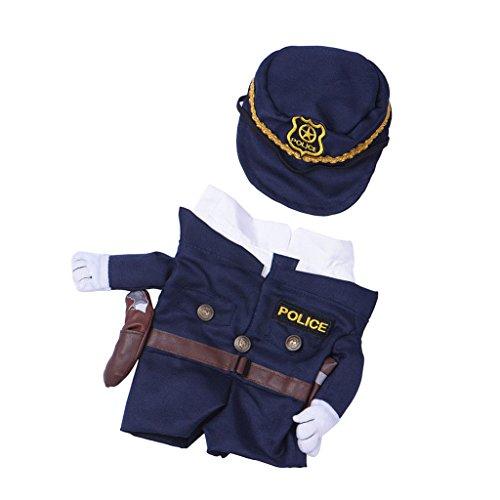 Gazechimp Haustier Hunde Katze Fancy Stoff Overall Polizei Cosplay Kostüm Partei Kleidung Mit Hut - XL