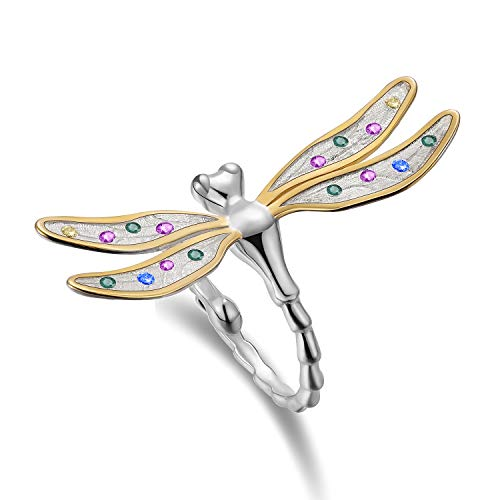 Lotus Fun S925 Sterling Silber Ring Mehrfarbige Zirkonia Schöne Libelle Ringe Natürlicher Zirkon Handgemachter Einzigartiger Schmuck für Frauen und Mädchen (Schmuck Handgemachter Ringe)