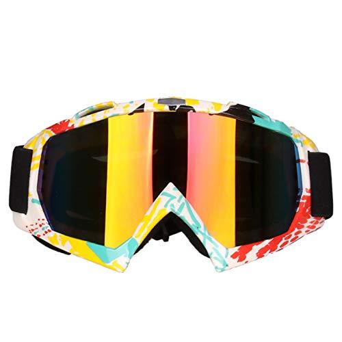 KnBoB Snowboardbrille Herren Motocross Brille Verspiegelt Sport Brille Band Gelb Weiss