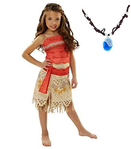 La Señorita Vaiana Kleid Moana Prinzessin Kinder Kostüm Verkleidung + Gratis Vaiana Kette (Größe 8-9 Jahre - 140-146 (150))