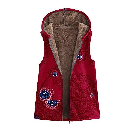 Moginp Damen Warm Outwear Retro Geometrisch Print Hooded Mit Taschen Plus Größe Weste Mantel (Red, XXXXX-Large)