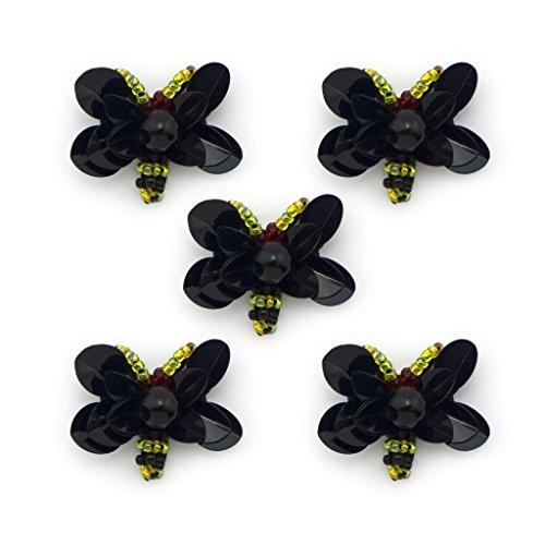 HAND ® Schwarzer Schmetterling Sequin und bunte Perlen-Borte - für Blusen, Röcke, Mäntel, Taschen und Accessoires - Packung mit 5 Stück