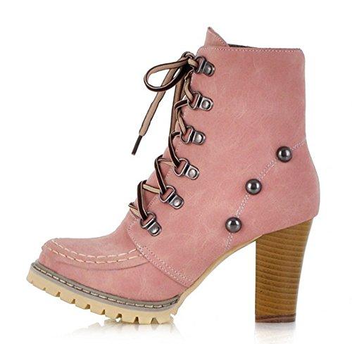 Aisun Damen Metallic Niet Trichterabsatz Kunstleder Schnürhalbschuhe Kurzschaft Stiefel Pink 38 (Stiefel Pink Up Lace)