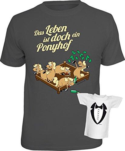 Fun T-Shirt Das Leben ist doch ein Ponyhof Shirt bedruckt Geschenk Set mit Mini Flaschenshirt Dunkelgrau