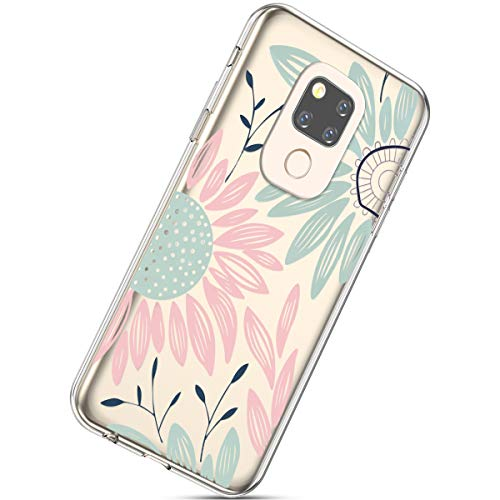 Kompatibel mit Handyhülle Huawei Mate 20 Schutzhülle Transparent Weiche Silikon Durchsichtig Schutzhülle Muster Crystal Silikonhülle Ultradünnen TPU Handy Tasche Stoßfest Bumper Case,Sonnenblume