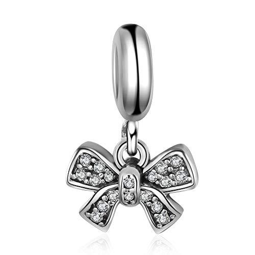 Bling Schleife Perlen Baumeln Charm Authentic 925Sterling Silber für Pandora & alle Europäische Charm-Armbänder und Ketten