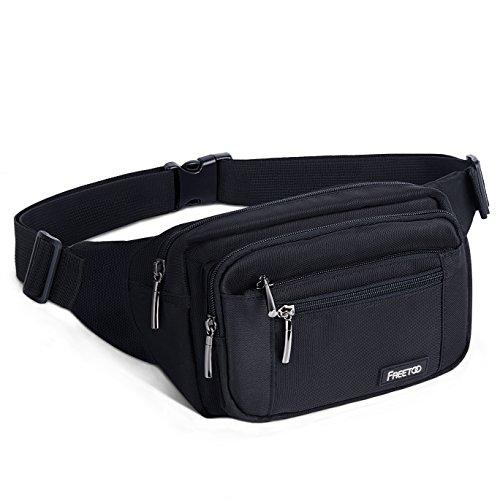 FREETOO [Gürteltasche] Bauchtasche Multifunktionale Hüfttasche 5 Fächer mit Reißverschluss geeignet für Reise Wanderung und alle Outdoor-aktivitäten Schwarz für Damen und Herren (Schwarz)