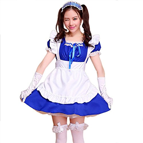 Preisvergleich Produktbild Cute Lolita Anime Cosplay Maid Costumes ( Dress + Apron + Hair accessories + Bowknot lace white socks ) color - Navy blue , Size - M