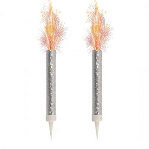Silberne Sternspritzer in Kerzenform - 2 Stück
