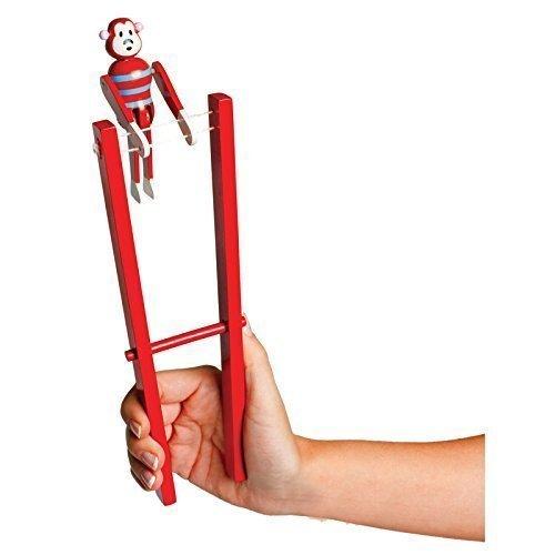 Wooden Acrobatic Monkey Trapeze Flips Monkey Toy Fun Stocking Filler Toys by Lizzy®