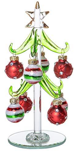 R.E.D Mini-Weihnachtsbaum aus Glas, Kleiner Tisch, Weihnachtsdekoration, mit Abnehmbaren Kugeln, Ornamenten, gestreift, Rot/Weiß / Gold, 15,2 cm -