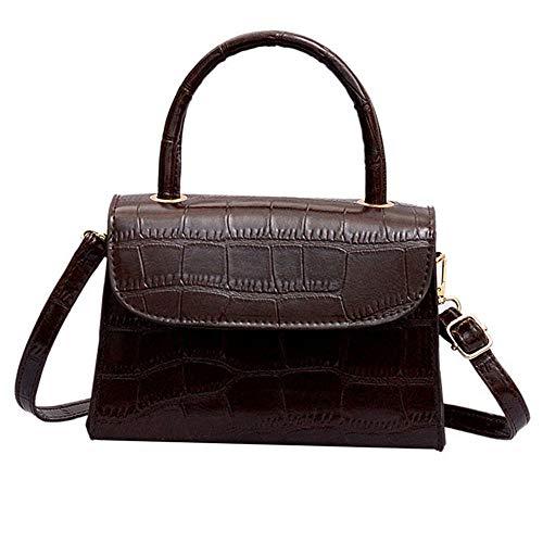 Tyoby Tyoby Einfarbig Retro Brieftasche Schulterbeutel der Frauen Normallack Kurierbeutelhandtasche(Braun,14cmx8cmx19cm)