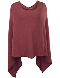GG New Ladies Italian Angora Wool Mix Knitted Quirky Lagenlook Draped Poncho Cape