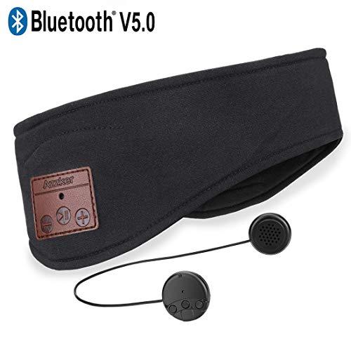 Azzker - Diadema Bluetooth V4.2 inalámbrica Manos Libres con Altavoces estéreo HD ultrafinos Desmontables y micrófono para Llamadas, Yoga, Deportes al Aire Libre, Caminar y Senderismo