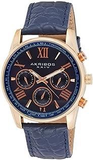 Akribos XXIV Men's Blue Dial Leather Band Watch - AK864