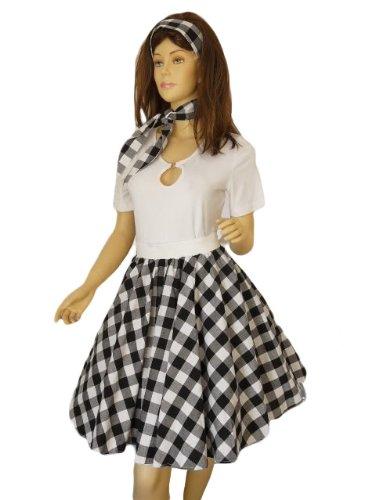 ck Röcke Kleid für Petticoat Petticoats Pettycoat Gr. 34-44 in weiss und schwarz kariert R12 (50er Jahre Kostüm Gruppe)