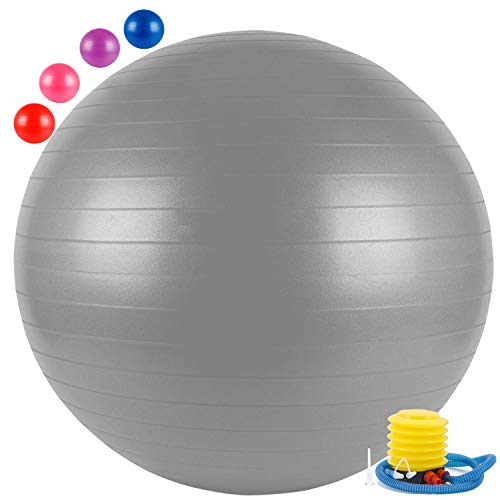 FITSY® Anti-Burst Yoga Exercise Gym Ball with Foot Pump, 65 cm, Grey