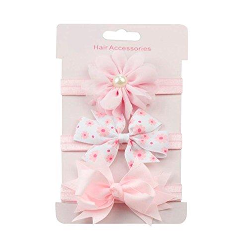 erthome Baby Haarnadel, Kinder elastisches Blumen Stirnband Haar Mädchen Baby Bowknot Haarband Set 3Pcs (A) -