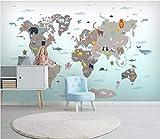 HONGYUANZHANG Mappa Del Fumetto Di Camera Per Bambini Carta Da Parati Artistica Del Fondo Di Paesaggio Della Tv Di Carta Da Parati Della Foto 3D,24Inch (H) X 32Inch (W)