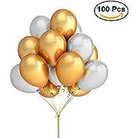 NUOLUX Ballons en latex, décoration en ballon en or de 16 pouces en argent, 100 pièces
