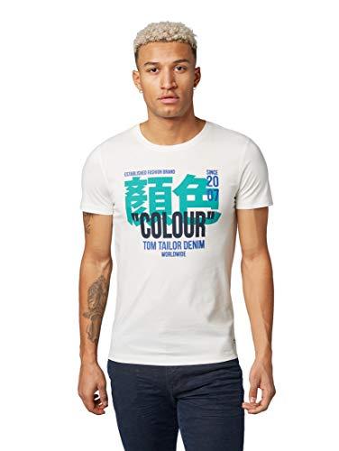 Denim-t-shirt Top (TOM TAILOR Denim T-Shirts/Tops T-Shirt mit Schrift-Print Light Marsmallow, S)