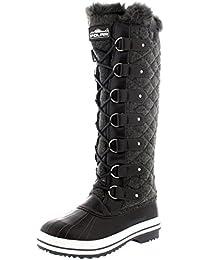 Polar Damen Quilted Knie Hoch Ente Pelz Gefüttert Regen Schnüren Dreck Schnee Winter Stiefel