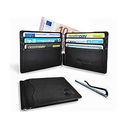 Arikaree ® Portafoglio Uomo Vera Pelle Prima Qualità Porta Carte Credito Blocco Rfid Nero Clip Fermasoldi Banconote…