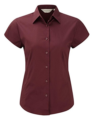 Russell Collection Womens Easycare Fitted Short Sleeve Shirt Grenat