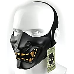 WorldShopping4U Tactical Protective Paintball Airsoft Plastic Cosplay Demon Half Face Mask (noir)