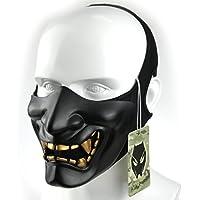 Atairsoft Máscara para disfraz de halloween, cosplay, BB, demonio, diablo, monstruo, kabuki, samurái, hannya, oni, máscara que cubre la mitad  de la cara, para airsoft, películas, Bk