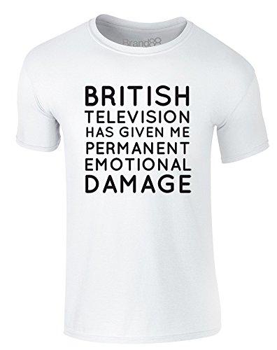 Brand88 - Permanent Emotional Damage, Erwachsene Gedrucktes T-Shirt Weiß/Schwarz