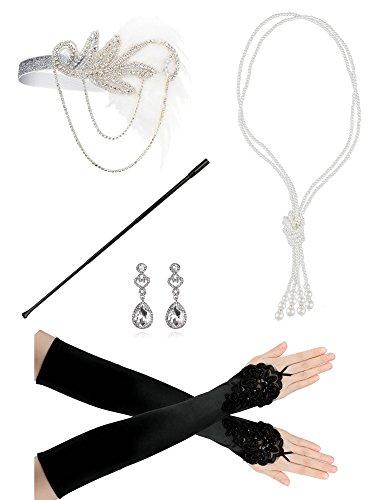 Zivyes 1920er Jahre Zubehör Set Flapper Stirnband Halskette Handschuhe Zigarettenspitze Kostüm Zubehör für Frauen