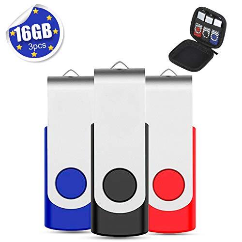 EASTBULL USB Stick 16GB USB 2.0 3 stück Mehrfarbig Speicherstick USB Sticks Data Datenspeicher -