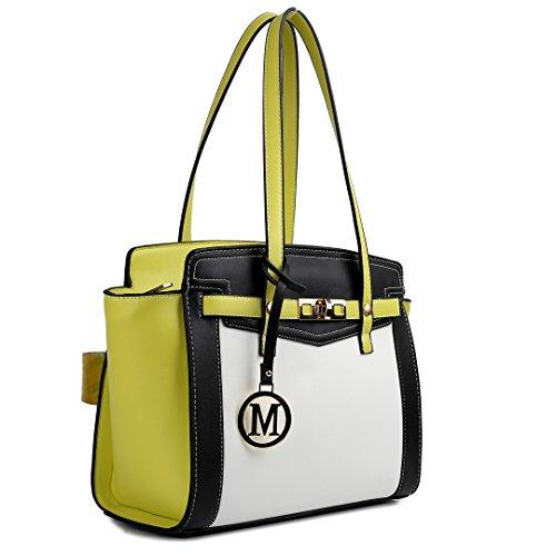 Miss LuLu Henkeltasche Aktentasche Elegant Damen Handtasche Umhängetasche 33cm x 13cm x 25cm (Violett) Gelb