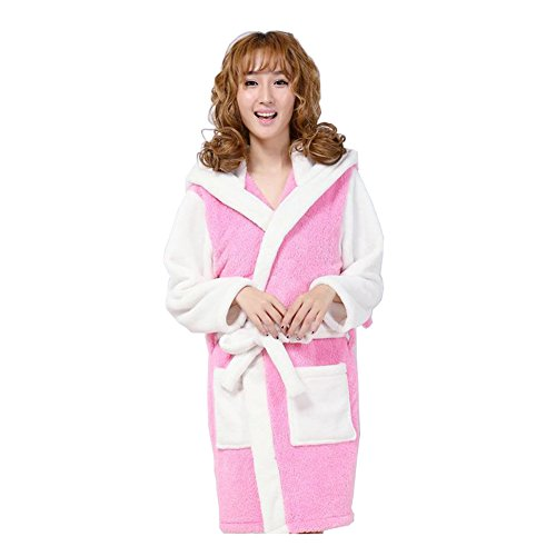 Yimidear Femmes Flanelle Peignoir Milieu Encapuchonné Peignoir avec Poches Pink stitch
