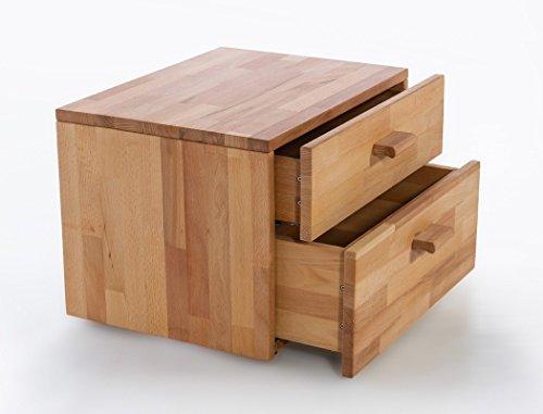 Massivholzbett Caspar + Nachttisch Kernbuche geölt Stauraumbett Holzbett Bett Nachtkonsole Nako Schlafzimmer, Liegefläche:140 x 200 cm;Set-Inhalt:Bett - 4