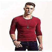 zxc Top Hombres Camiseta De Manga Larga Ajustada,Rojo Cuello Redondo,XXXL
