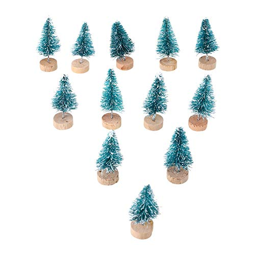 Gulin Artificial Mini Sisal Christmas Trees, Mini Pine Trees Snow Frost Wooden Bases Ornament, Home Party Decoration Ornament -