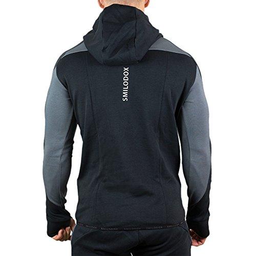 SMILODOX Slim Fit Kapuzenpullover Herren | Hoodie für Sport Fitness Gym Training & Freizeit | Trainingsjacke - Sportpullover - Sweatjacke - Kapuzenpulli mit Print Schwarz/Grau