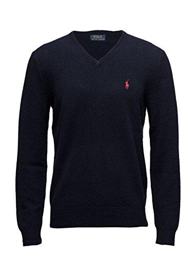 Ralph Lauren Herren Strick Pullover V-Neck Lammwolle Lambswool Navy (M) (Pullover V-neck Ralph Lauren)