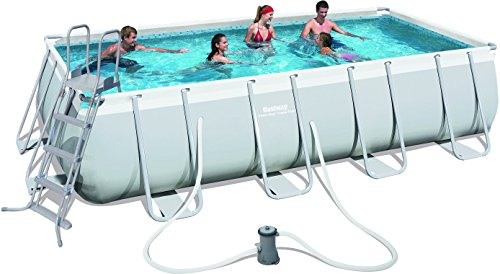 Bestway Power Steel 56481 - Piscina (Montura, Rectangular, Azul, Gris, 220 - 240, PVC, Acero)