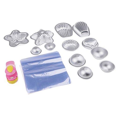 MagiDeal 12pcs Moule en Aluminium avec Sac d'emballage et Mini Machine à Capper pour Savon de Bain DIY Fabrication de Savon/Pte à Sucre/Ptisserie/Décoration de Fondant